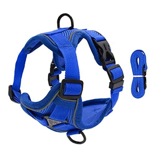 Arnés para perros Pet Reflective Nylon Dog Harness No Pull Adjustable Medium Large Naughty Dog Vest Safety Vehicular Lead Walking Running Arnés para gatos (Color : Blue, Size : X-large)
