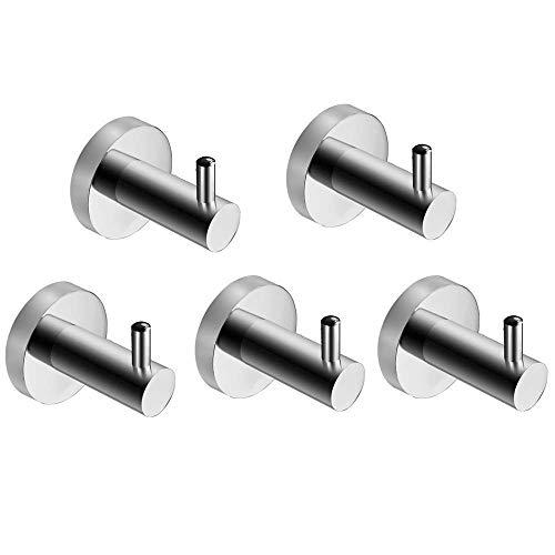 DAGUAI 5 ganchos de acero inoxidable grueso para abrigos, sombreros, llaves, para baño, cocina, toallero, soporte de pared, gancho para colgar toallas, accesorios de baño, fuerte y robusto.