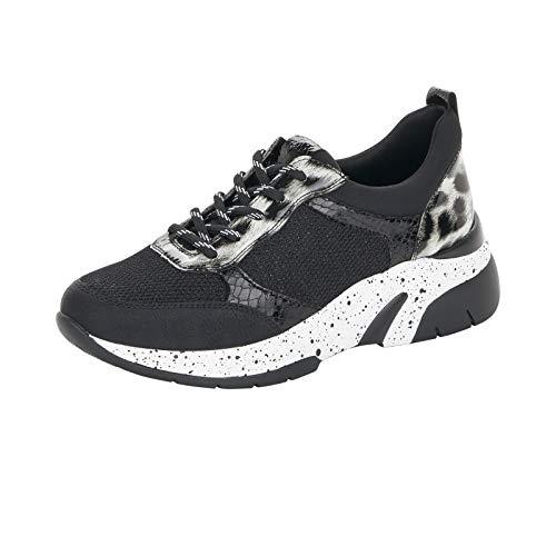Remonte Damen Schnürhalbschuhe, Frauen sportlicher Schnürer, Sneaker freizeitschuh dad-Shoe,Schwarz(schw),43 EU / 9 UK