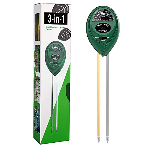 Moisture Meter, Soil pH Meter, 3-in-1 Soil Test Kit, Moisture Meter for Potted Plants for Testing pH, Moisture and Light, Soil Moisture Meter for Garden, Farm, Lawn, Indoor and Outdoor