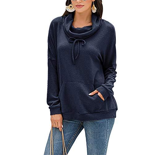 ZFQQ Herbst/Winter 2020 Neues einfarbiges Pullover-Kordelzug-Pullover-Plüschoberteil aus Kaschmir für Damen
