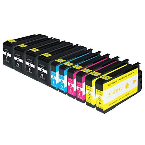 10 Logic-Seek Tintenpatronen kompatibel zu HP Designjet T120 Designjet T520 - CZ129A CZ130A CZ131A CZ132A HP 711 XL - Schwarz je 80 ml, Color je 29 ml