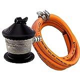 Bricoloco Kit regulador butano para Botellas domésticas con válvula de Seguridad. Evite Accidentes manteniendo su instalación Condiciones. Fabricado en U.E. Producto Certificado