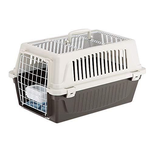 Ferplast Transportín Perros Pequeños y Gatos hasta 8 Kg Atlas 20 Open, Techo Aprible, Almohada y Cuenco Incluidos ✅