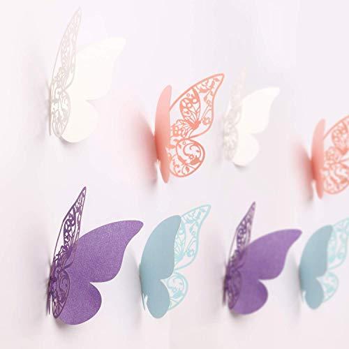 MWOOT 100Stk 3D Schmetterlinge Sticker für Hochzeitsdeko Wanddeko Geburtstagsdeko, Aufkleber aus Papier zur Dekoration für Wanddeko Schlafzimmerdeko