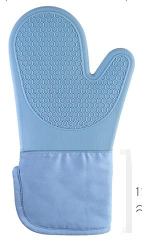 DEET Guantes Horno Guantes Cocina Guantes Resistentes al Calor Impermeables Resistente al Calor y al Agua, se Utiliza para Hornear, Cocinar, Horno Microondas, Asar a la Parrilla (Azul Claro)