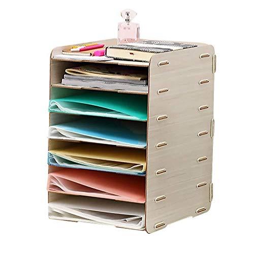 Archivadores de revistas Caja de almacenamiento de escritorio de madera de 7 capas grande Archivo Rack rack Organización Oficina de bricolaje de almacenamiento (color: blanco) Organizador Archivo Docu