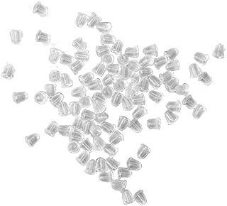 Ciaoed - Confezione da 100 Fermagli per Orecchini, in Gomma Morbida Trasparente, a Forma di Farfalla, anallergica, Chiusur...