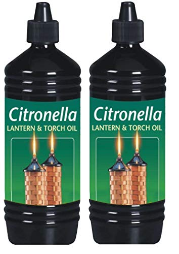 CUQOO Scented Citronella Lantern Torch and Lamp Oil in 1L - Citronella Oil for Garden Burners, Garden Torches, Oil Lamps, Tiki Torches - Insect Repelling Citronella Oil for Outdoor Lamps (2 Pack)