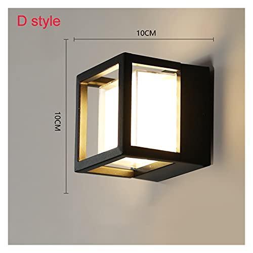 lámpara de pared Luz de pared LED de detección de movimiento de cuerpo humano de aluminio IP65 Lámpara de pared al aire libre impermeable AC90-260V ( Color : No Sensor , Emitting Color : D style 5W )