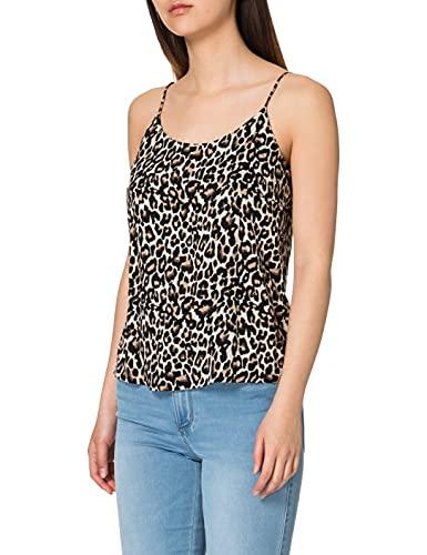 Vero Moda VMSIMPLY Easy Singlet Top WVN GA Camiseta sin Mangas, Oatmeal/AOP:Linea, S para Mujer