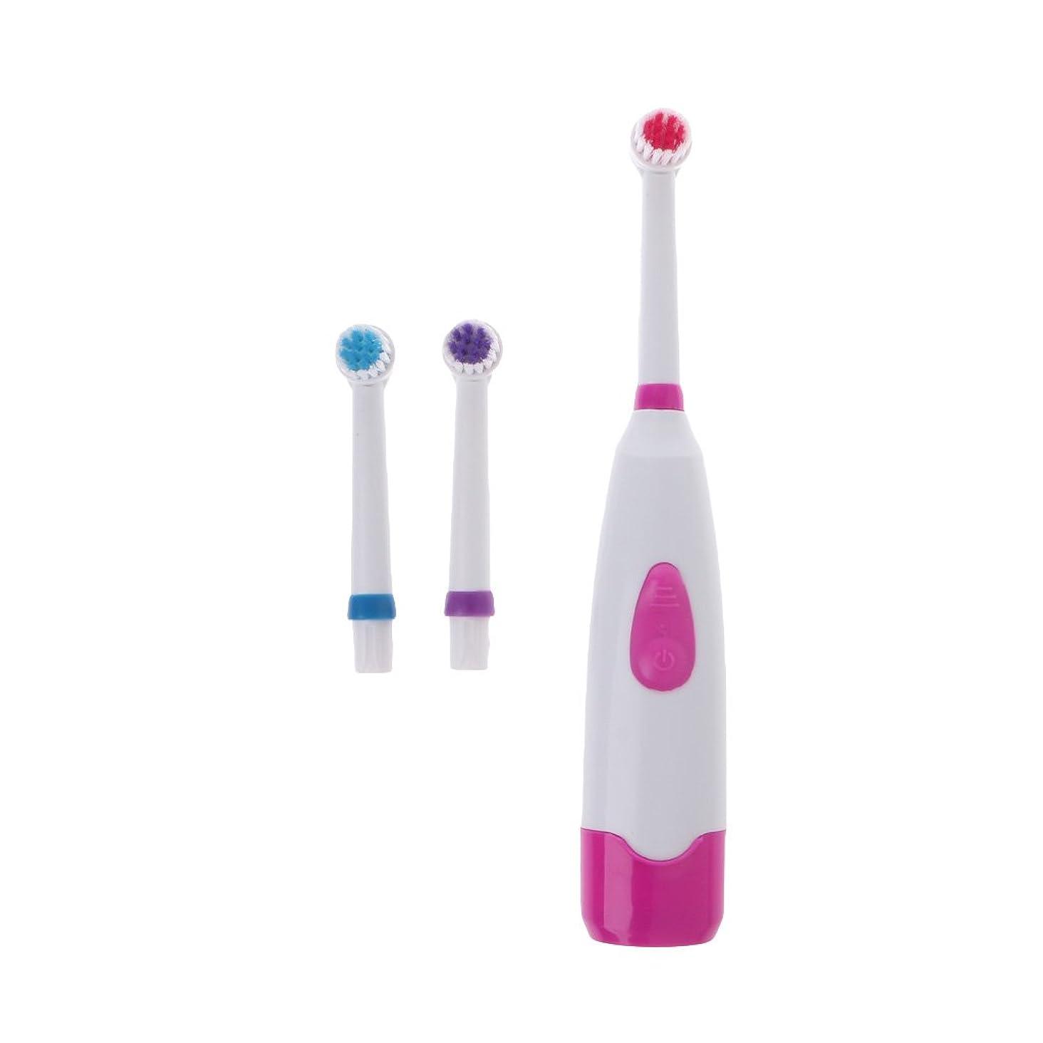 品揃え人質資産Manyao 3ブラシヘッドで防水回転電動歯ブラシ (ピンク)