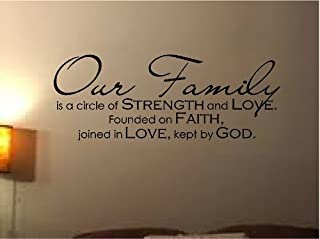 BanKhok Wall Decal Vinyl Lettering Our Family is A Circle of Strength and Love Founded ON Faith Joined in Love Kept by GOD