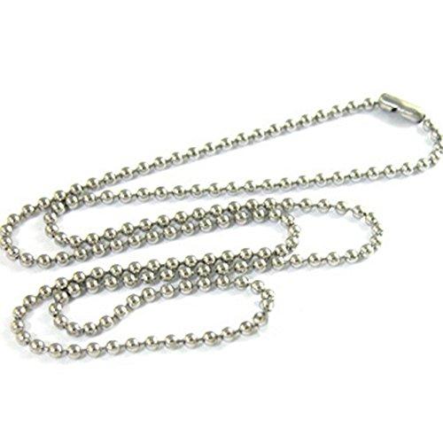 NiceButy collar colgante collar cadena bola perlas 3mm en acero inoxidable aleación...