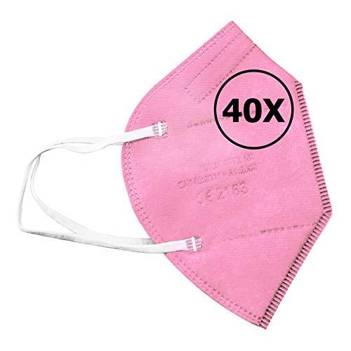 TBOC Mascarillas FFP2 -  [Pack 40 Unidades] Máscaras Desechables [Color Rosa] 5 Capas [No Reutilizables] Transpirables Plegables con Pinza Nasal [Certificadas y Homologadas CE 2163] Calidad Premium