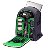 G-raphy Camera Backpack DSLR SLR Backpack Waterproof with Laptop Compartment/Tripod Holder for Hiking /Travel / etc (Green)