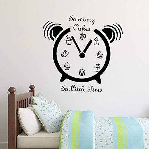 yaonuli Reloj Creativo Pegatinas de Pared Tanto Pastel Tan Poco Tiempo decoración del hogar Comida calcomanía de Pared 28X43cm