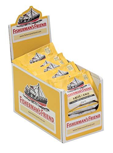 Fisherman\'s Friend Anis   Karton mit 24 Beuteln   Menthol und Anis Geschmack   Mit Zucker   Für frischen Atem