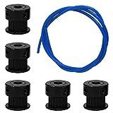 Accesorios para impresora 3D, AFUNTA 5 piezas de aluminio GT2 correa de distribución polea y tubo azul de 1 metro para impresora 3D