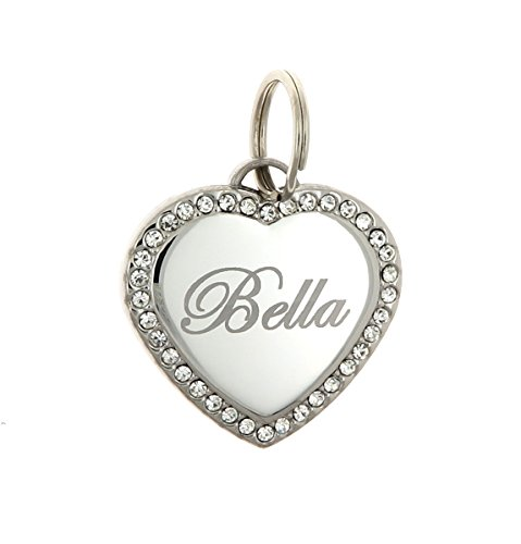 Custom Text Engraved Personalized Stainless Steel Heart Swarovski Zirconia Dog Bling Tag for Pets