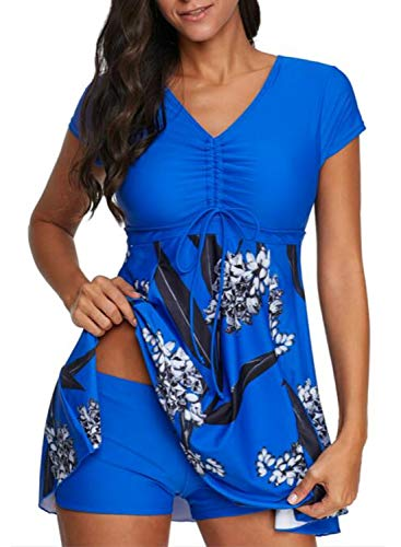 Aleumdr Women Fashion Color Block Printed Push Up Two Pieces Swimdress Tummy Control Asymmetrical Hem Slit Cover up Bathing Suit Blue X-Large 14 16
