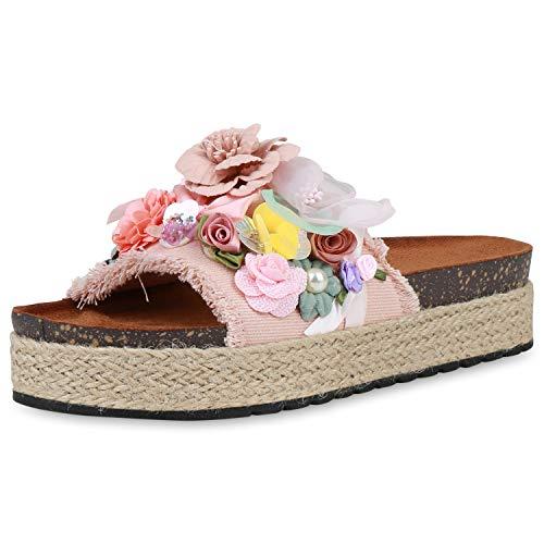 SCARPE VITA Damen Pantoletten Plateau Sandaletten Bast Sommerschuhe Sandalen Blumen Schuhe Fransen Schlappen Plateauschuhe 190751 Rosa 38