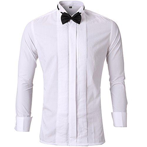 Harrms Herren Smoking Hemd Slim Fit mit Krawatte Manschettenknopf Button Down Für Business Hochzeit Freizeit Bügelleicht/Bügelfrei,Weiß,43