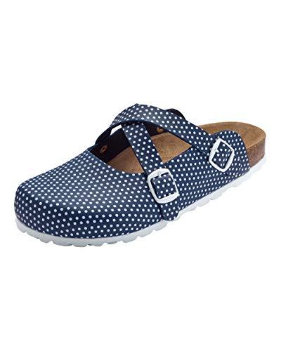 CLINIC DRESS Clog - Clogs Damen bunt. Schuhe für Krankenschwestern, Ärzte oder Pflegekräfte Navy/weiß, gepunktet, Polka Dots 38