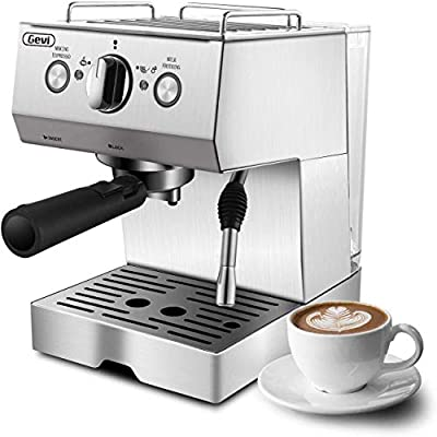 Espresso Machine, Coffee Machine with 15 bar Pump Powerful Pressure Coffee Brewer, Coffee maker with Milk Frother Wand for Latte and Mocha, Silver, Stainless Steel, 1050W by Barsetto
