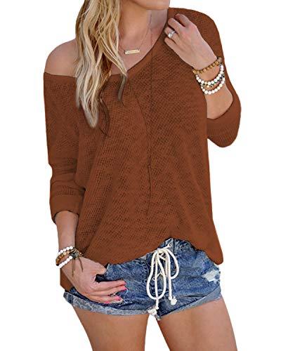 YOINS Bluse Damen Pullover Damen Langarmshirts Schulterfrei Oversize Tshirts Damen Herbst V-Ausschnitt Blusen Oberteile Casual A-Kaffee-neu L