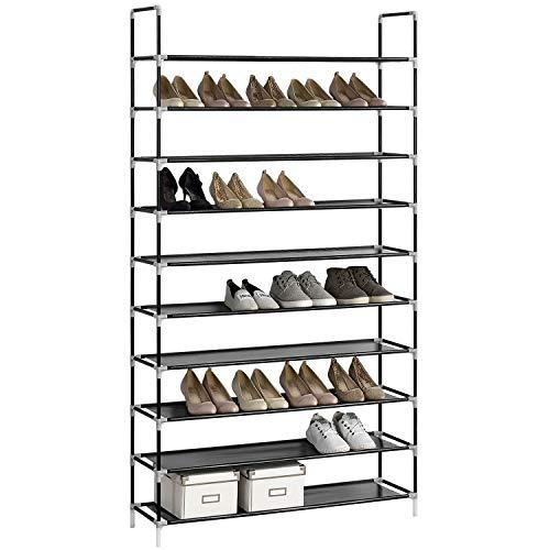 Juskys Schuhregal Marino mit 10 Ebenen – Schuhablage aus Metall & Vliess - Schuhschrank für 50...