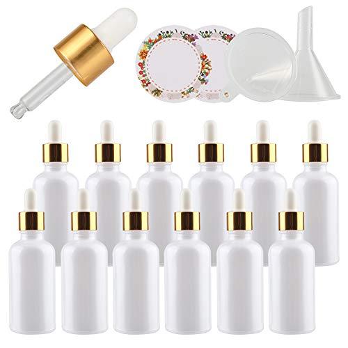 TIANZD 24 Pieza, Vacío 50ml Perle Blanco Botellas de Cuentagotas Cristal, con Anillo de Oro y pipeta, para Aromaterapia Aceites Esenciales y Perfume