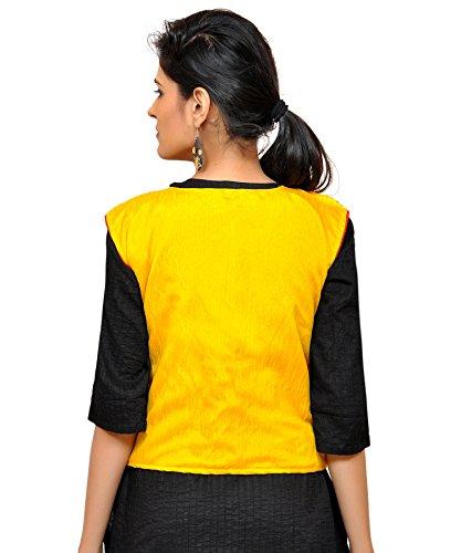 Banjara India Women's Dupion Silk Embroidered Kutchi Waist Length Jacket/Koti (Yellow)