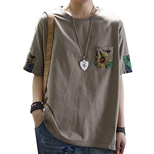 Camiseta de Manga Corta con Estampado de algodón Puro, Ropa de Gran tamaño Suelta de Verano para Mujer