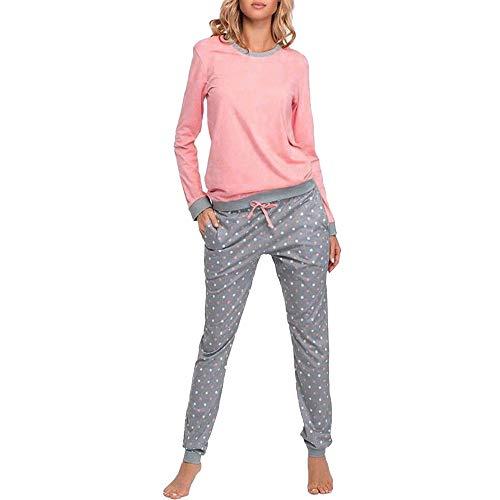 iLPM5 Femme Ensemble De Pyjama 2019 Nouveau Pas Cher Manches Longues Automne Hiver Chaud Peignoirs de Bain Grande Taille Lâche Doux Confortable Point Pyjama(Rose,L)