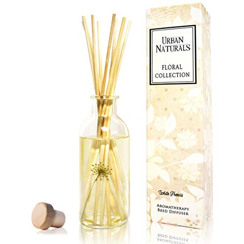 Urban Naturals White Freesia Reed Diffuser Sticks Set | Freesia Petals, Hyacinth & White Musk | Scented Aromatherapy Oil with Infuser Sticks! Real Flowers in Bottle! Housewarming Home Gift