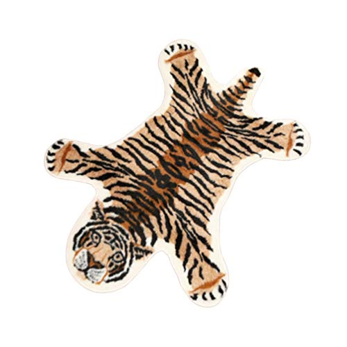 Supvox Tiger Print Teppich kunstpelz Teppich Teppich shag Teppich fußpolster rutschfeste Matte plüsch Teppich für Wohnzimmer Schlafzimmer Boden 80x105 cm