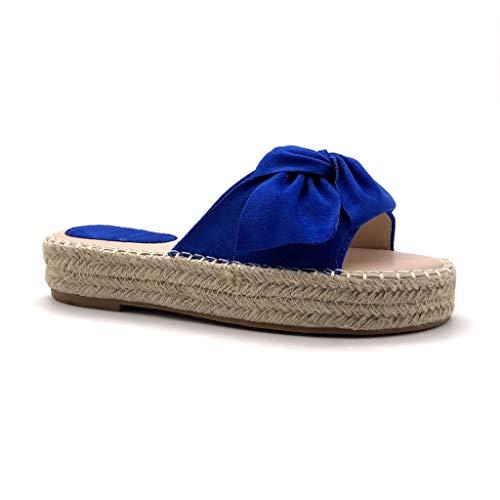 Angkorly - Dames Fashion Schoenen Espadrilles Muilezels - Folk/Ethnic - Strand - tap - Knoop - Node - met stro - Gevlochten Platte hak 3,5 cm
