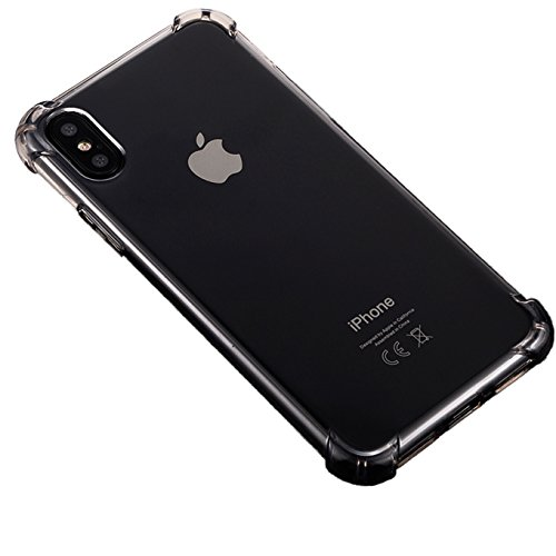 iBarbe iPhone X Case,iPhone 10 Case Crystal Transparent Clear TPU Cover with Corner Drop Protection for Excellent Grip Shell[Support Wireless Charging][Slim Fit] for iPhone X-Gray