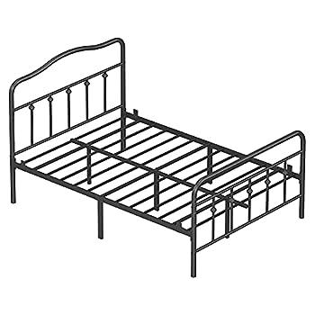 VASAGLE Full Size Metal Bed Frame with Headboard Footboard No Box Spring Needed Platform Bed Under-Bed Storage Victorian Vintage Style Black