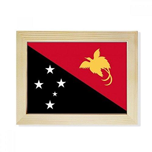 DIYthinker Papua-Neuguinea National Flagge Ozeanien Land Desktop-HÖlz-Bilderrahmen Fotokunst-Malerei Passend 15.2 x 20.2cm (6 x 8 Zoll) Bild Mehrfarbig