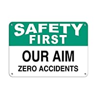 耐久性のある錆びないビジネスサイン、最初に私たちの目的ゼロ事故スローガン987部屋の看板壁アート装飾アルミ金属ティンサイン、レトロな金属看板プラークノベルティギフト