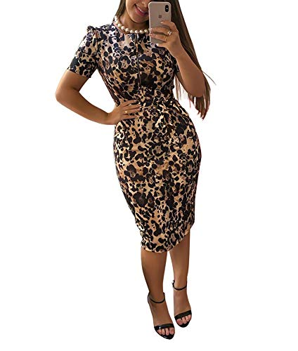 Ekaliy Womens Bodycon Midi Dress - Elegent Short Sleeve Floral Print Slim Fit Business Pencil Dress with Belt Large Leopard Print