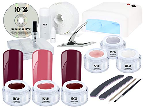 Nagelstudio STARTERSET DVD PREMIUM + SWEET CHERRY RED Rot FarbGel für Gelnägel - UV Lampe weiß + 6 x UV Gel MADE IN GERMANY + Tips + Feilen + Pinsel + Schulungs-DVD + Zubehör - SET BESTSELLER