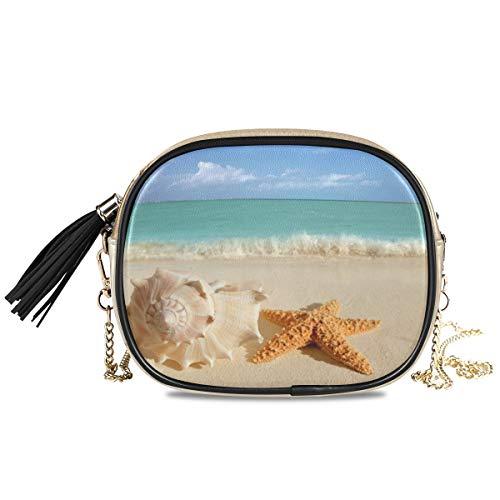 XiangHeFu Geldbörse Organizer Große Kapazität Tropical Sea Beach Sandmuscheln Seestern Münzetasche Brieftasche Telefon Tasche Kartenhalter