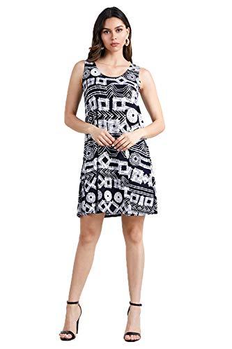 Jostar Women's HIT Missy Tank Dress Sleeveless Prints X-Large Navy Geometry