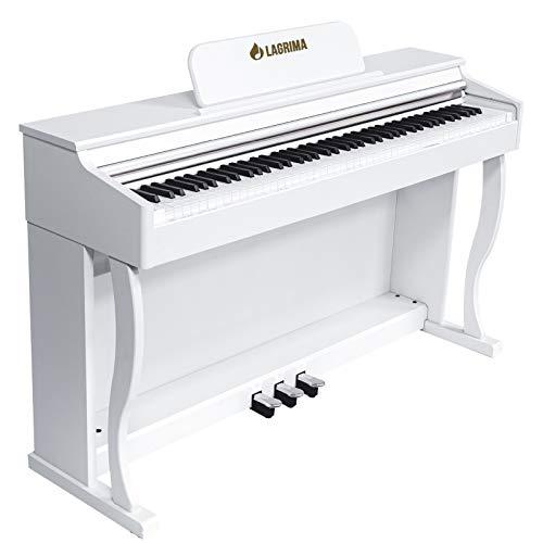 LAGRIMA M-901 E Piano 88 Tasten, Digital Piano mit Hammermechanik, Elektronisches Klavier für Anfänger/Erwachsene mit 3 Pedale Adapter & USB/MIDI Moderne Weiß