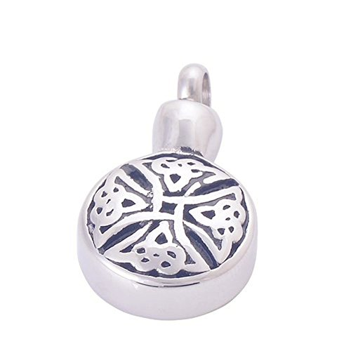 GIONO Urn Necklace Celtic Knot Cross Round Pendant Cremation Jewelry Memorial Ashes Keepsake