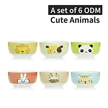 UPSTYLE Home Camping Cute Cartoon Animal Pattern Microwave Ceramic Soup Bowls Instant Noodle Bowl Cereal Bowl for Salad Fruit Saimin Vegetable (6 bowls a set)