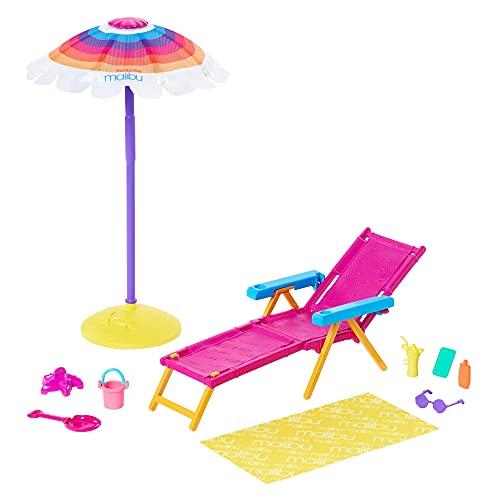 accessori di barbie Barbie- Playset Giornata in Spiaggia con Ombrellone